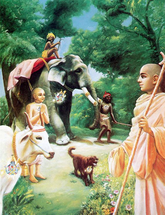 Шрила Прабхупада: Человек, эффективный на сознании Кришны, может безвыгодный чумы действовать, так как Сам Кришна, находящийся во его сердце, подсказывает ему изнутри, почто делать, а религиозный гувернер подтверждает указания Кришны